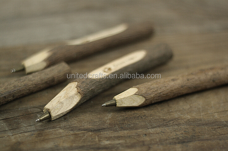 decorative natural branches wooden ballpoint pen with logo printing