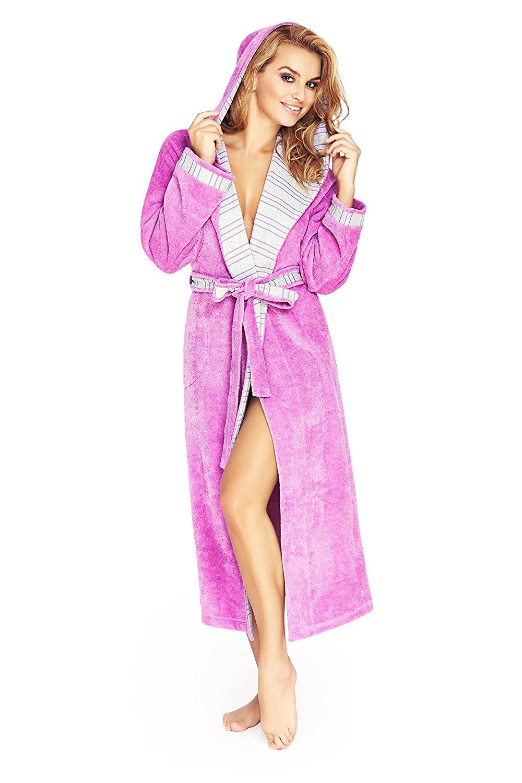 Lady Olga sherpa fleece lined hooded waffle dressing gown robe nightwear in pink