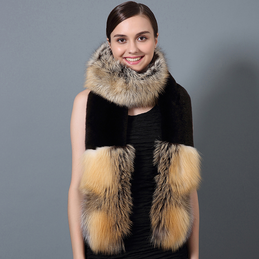 CX-S-36D Winter Wholesale Chengxing Fur Girls Real Fox Fur Scarf With Rex Rabbit Fur Shawl Scarf