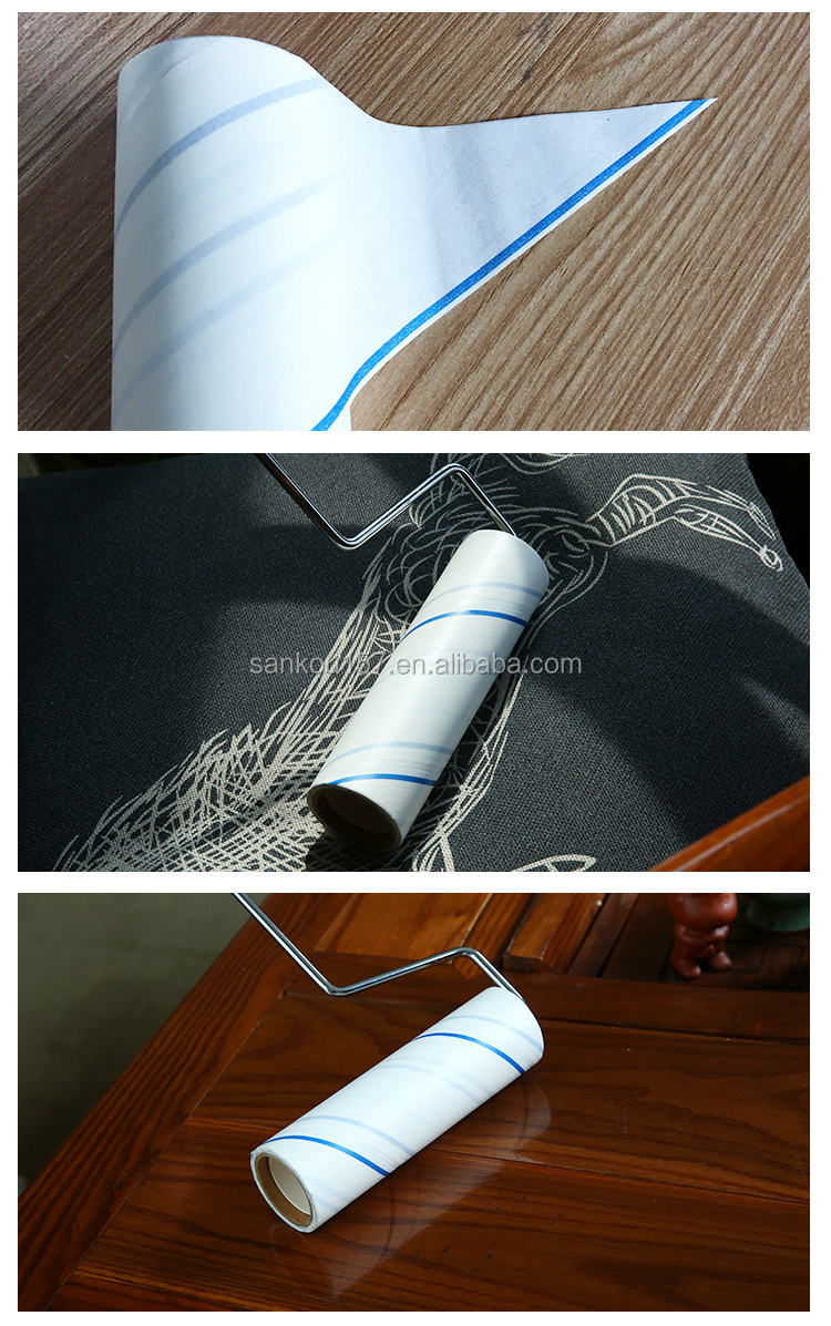 2017 new designed lint roller, home cleaning promotion 90 sheets spiral cut lint roller