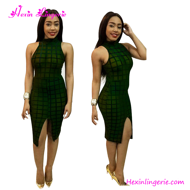 Green Transparent Mesh Sexy Mature Ladies 2017 Women Dresses