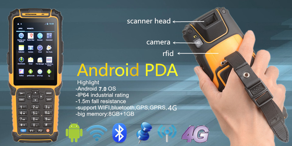 TS-901 barcode scanner wifi 4g portable android pos machine bluetooth gps rfid reader