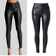 2016 Autumn Fashion Women Metal Button Belt Loop Black Sexy Tight Trousers Ladies High Waist PU Leather Skinny Slimming Pants