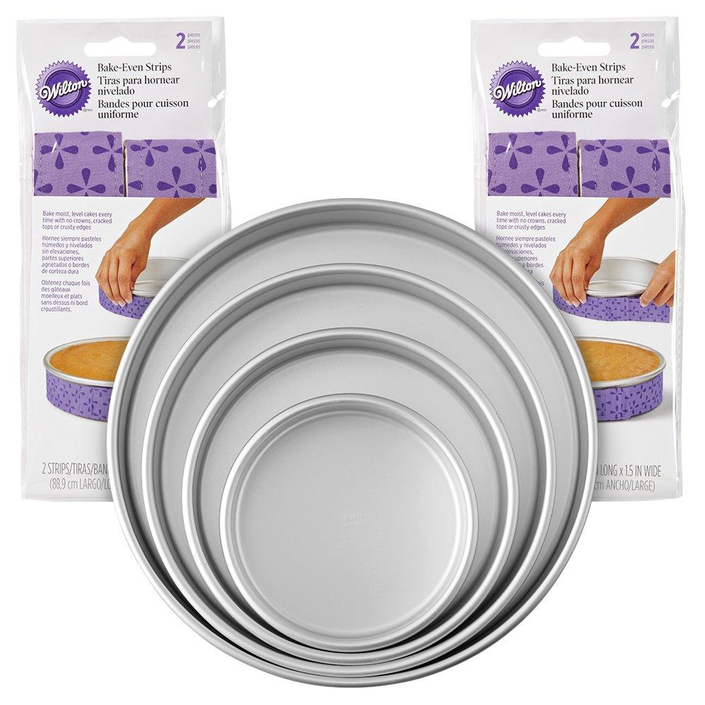 Wilton 2104-3676 Bake-Even Strips and Cake Pans Set, 8-Piece, Purple