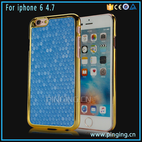 Fashion rhombus pattern pu sticker hard electroplate pc bumper phone case back cover for iphone 6