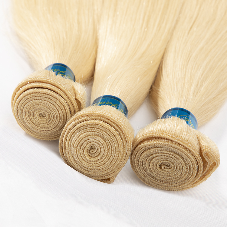 Raw blonde 613 virgin remy hair colors extensions weaving, platinum blonde human hair extension braiding