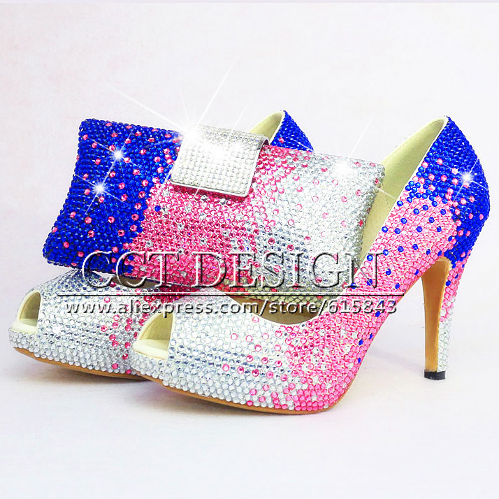 White Pink Blue Rhinestone Wedding High Heels Sexy Women Low High Heels Peep Toe Crystal Bridal Shoes With Matching Bag