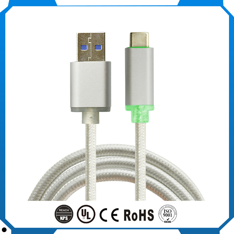 Redstar Nylon Braiding with LED type-c usb cable