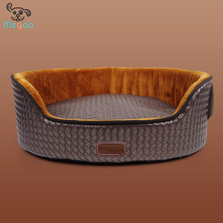 High-End Leather Pet Chihuahua Winter Beds PP Cotton Padded Cushion Washable Dog Bed
