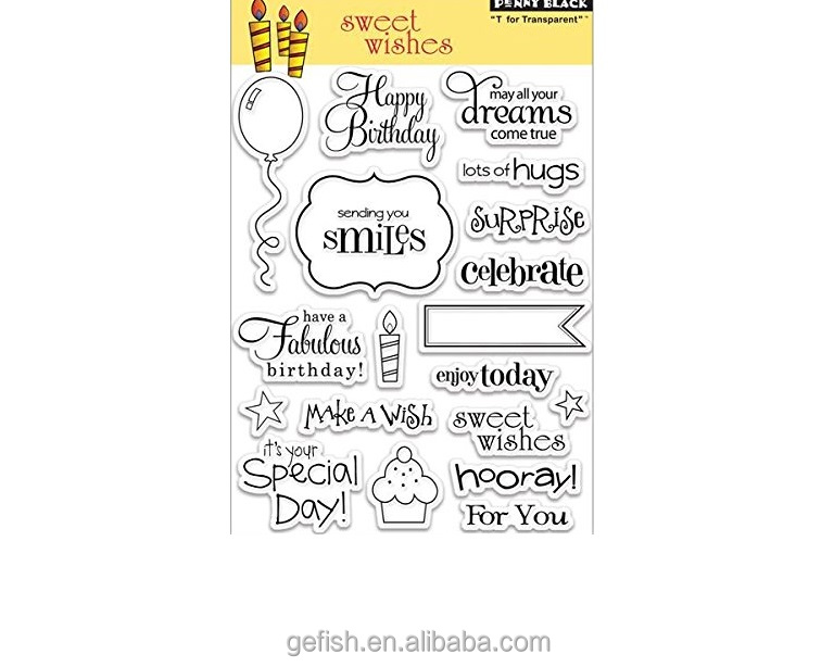 Custom design and themes acrylic penny black 19 sweet wishes clear stamps
