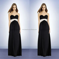 Black Bridesmaid Patterns With Pleats Sash 2014 Chiffon Strapless Gown With A Sweetheart Neckline Long Empire Prom Gown NB0737