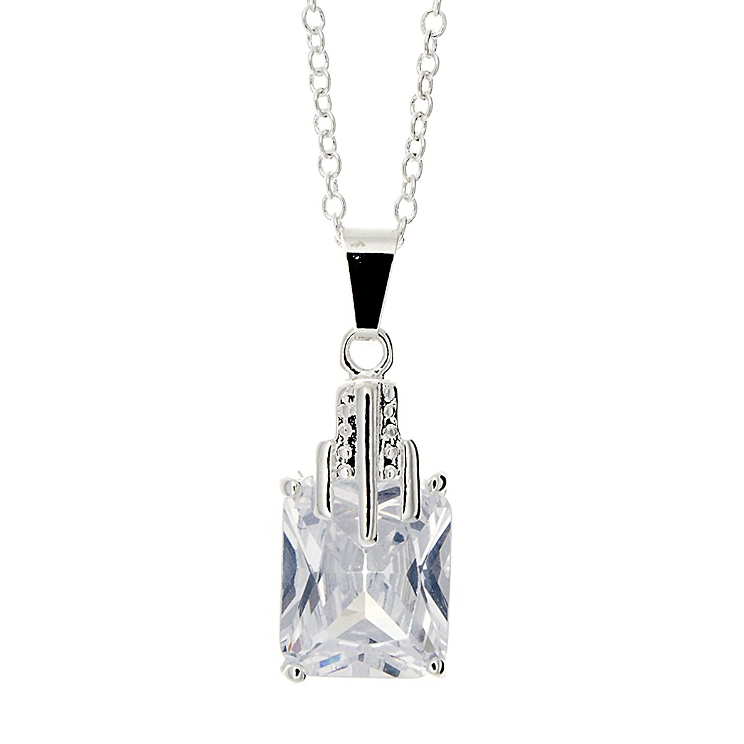 Pop Fashion Silver, Square, Princess Cut, CZ, Stone Necklace, Solitaire, Silver Necklace, Gifts for Women, Teens, Girls