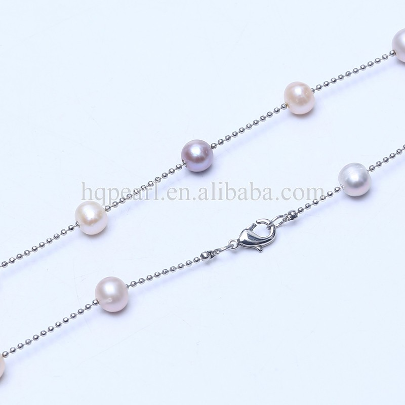 Silver Chain Necklace Freshwater Potato Shape long chain necklace with beads