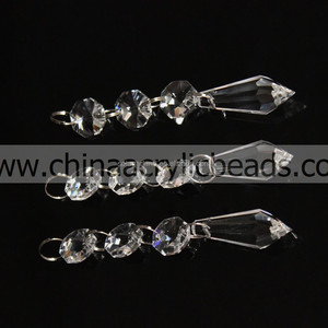 factory wholesale top selling octagon crystal K9 glass octagon bead with icicle pendant beaded strands charm for chandelier bead