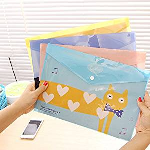 Katoot@ 4 pcs/lot Kawaii cat a4 file holer Cute candy color paper hasp document bags storage bag stationery school office supply