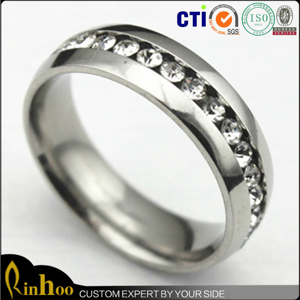 wholesale jc steel band fashion zirconia stainless rings cubic engagement jewelry