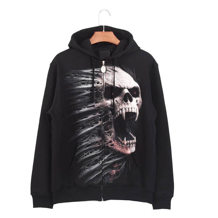 black custom skull print wholesale fleece classic design mens sweatshirt hoodies