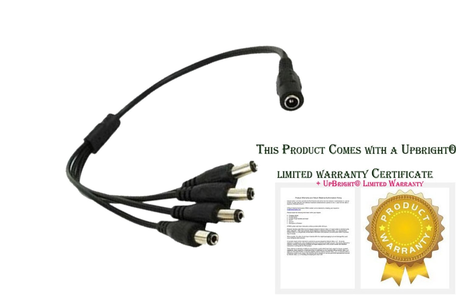 UpBright® 4-Plug Splitter 4-Way Power Cord Cable For Hikvision Surveillance/Network IP Camera 12V Series DS-2CE15C2P-IR DS-2CE16C2P-IT3 DS-2CD2012-I DS-2CD2032-I DS-2CD2112-I DS-2CD2132-I DS-2CD2612-I DS-2CD3112D-I DS-2CD3132D-I DS-2CE582N DS-2CE55C2P-IRP