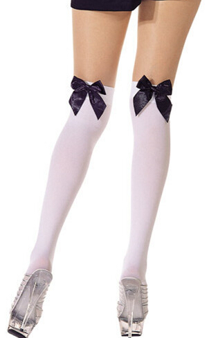 e8bfa58a584 Get Quotations · Japanese cute multicolor bow sexy thigh knee stockings  maid students Halloween lolita cosplay stockings
