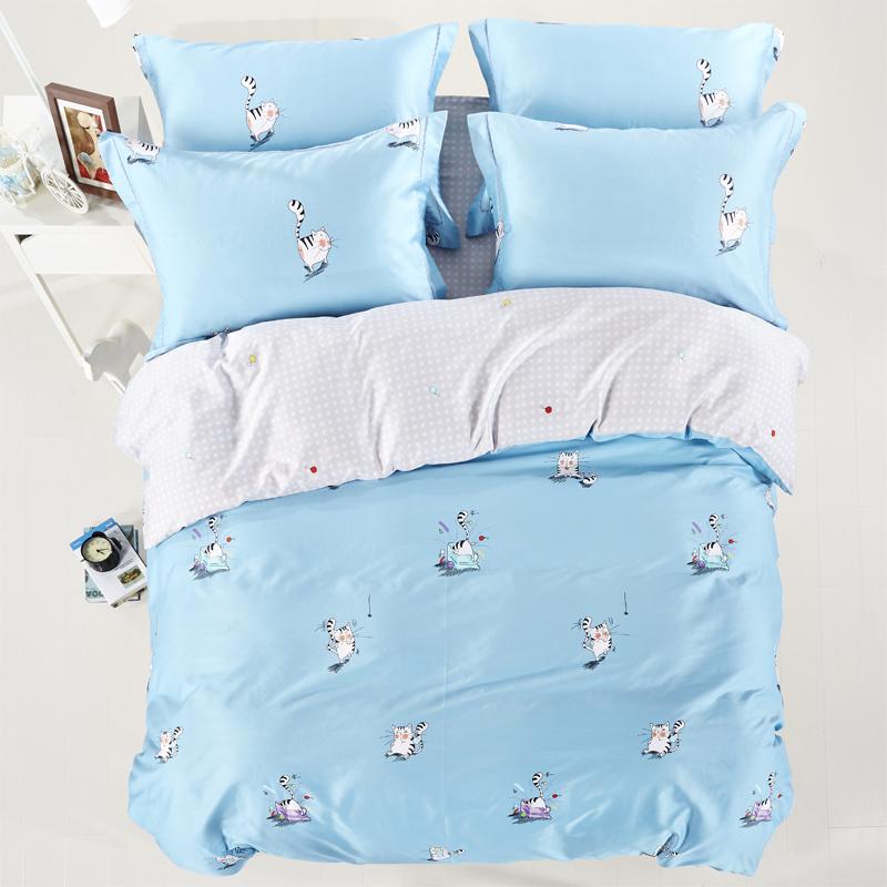 2016 new luxury cotton cat rabbit owl bedding set queen king size duvet cover bed sheet. Black Bedroom Furniture Sets. Home Design Ideas