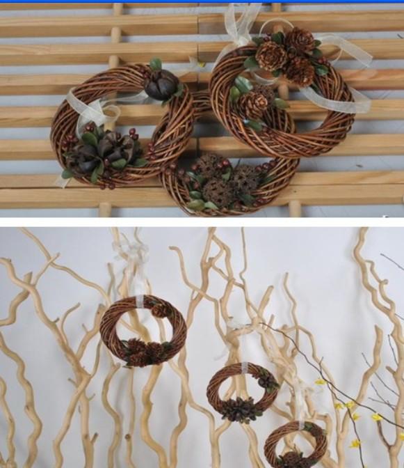 2015 rustic chic wedding wreath/ Natural hessian Wedding Bouquet/ home decoraton dried flower leaf garland ( diameter 12CM)
