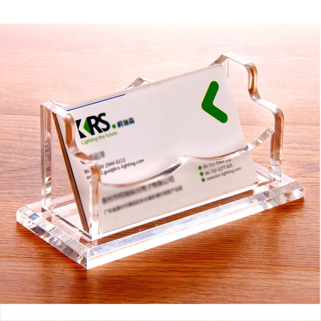Wei Hong Home Business Card Holder Transparent Business Card Holder Acrylic Creative Business Card Holder Business Desktop Business Card Holder (Capacity : 12.1cm5.6cm5.8cm, Color : Clear)