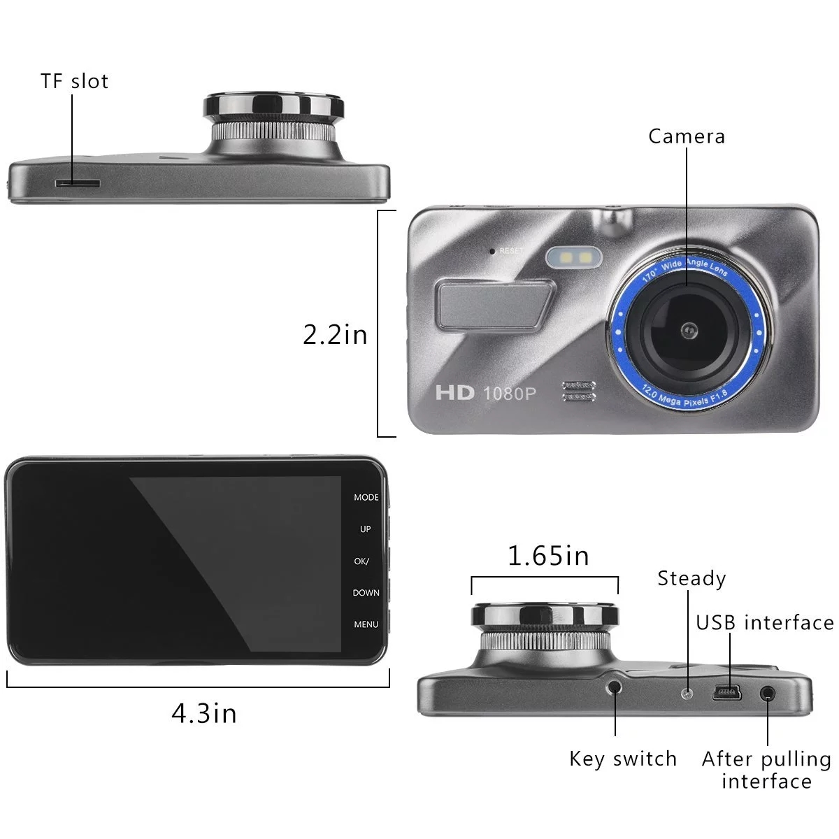 Amazon Hot sale Auto Car DVR Dual Lens front and back rear Recorder 1080P Night Vision Touch Screen Car Camera