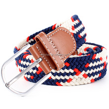 Fashion Man Mixed Color Elastic Strech Leather Woven Belt With High Quality