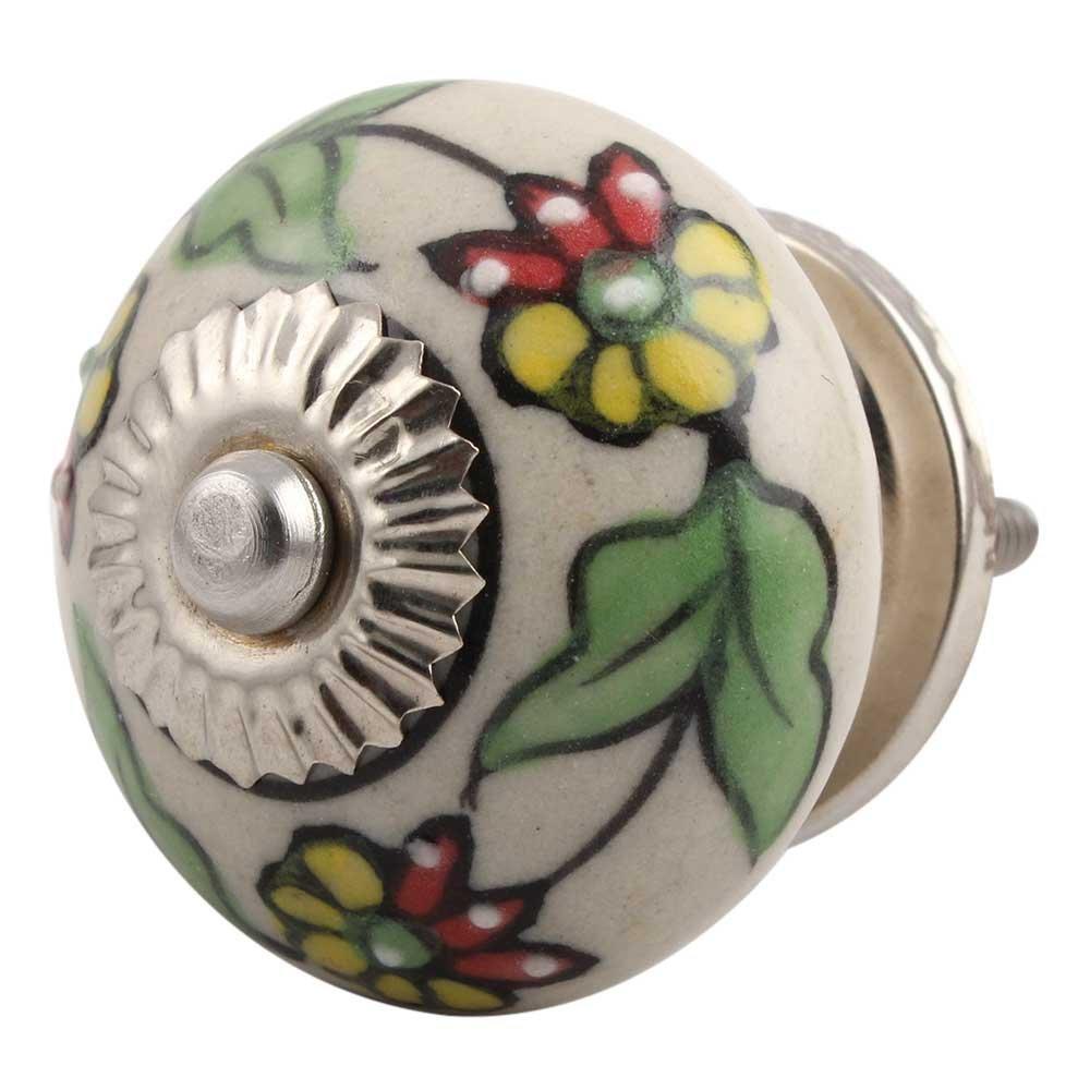 IndianShelf Handmade 8 Piece Ceramic Multicolor Leaf Flower Artistic Drawer Knobs/Cabinet Pulls