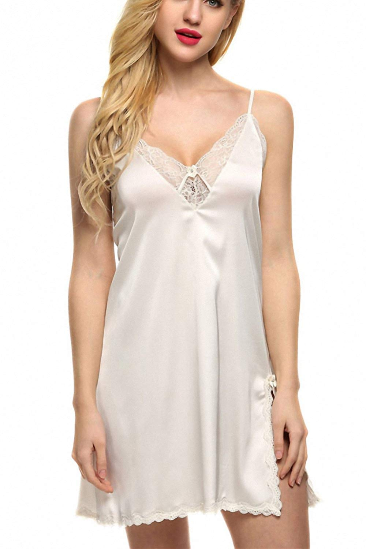 1e06a920c0 Get Quotations · Sexy Sleepwear Silk Nightgown Women Nightdress Sexy  Lingerie Plus Size Female Nightie
