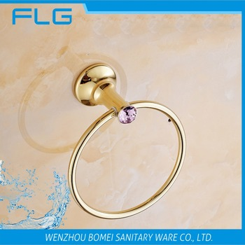 Household Hotel Bathroom Accessories Wall Mounted Gold Towel Ring BM88460