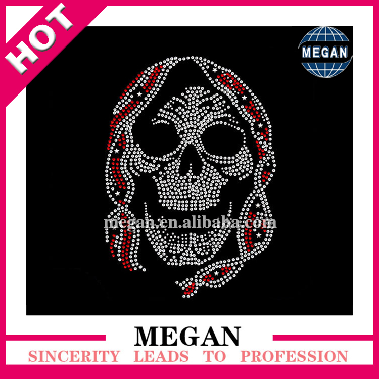 Strass Motif Hotfix Skull Rhinestone Design heat transfer pattern in high quality