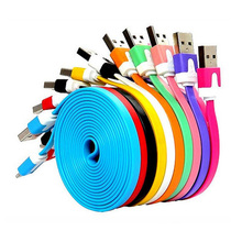 1m 2m 3m Hot sale Colorful Flat Noddle Micro 2.0 USB Cable with factory Price for Samsung