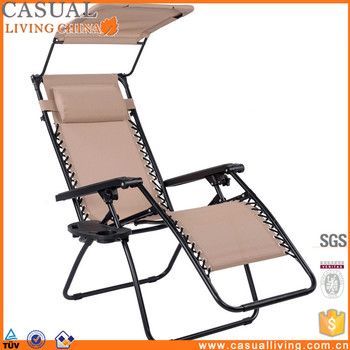 Outdoor Adjustable Folding Recliner Canopy Zero Gravity Lounge Chair With  Cup Holder