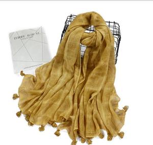 Fashion Women Plain Tie Dyed Cotton Tassel Hijab Female Dubai Muslim Scarf Long Shawl Geometric Plaid Scarf