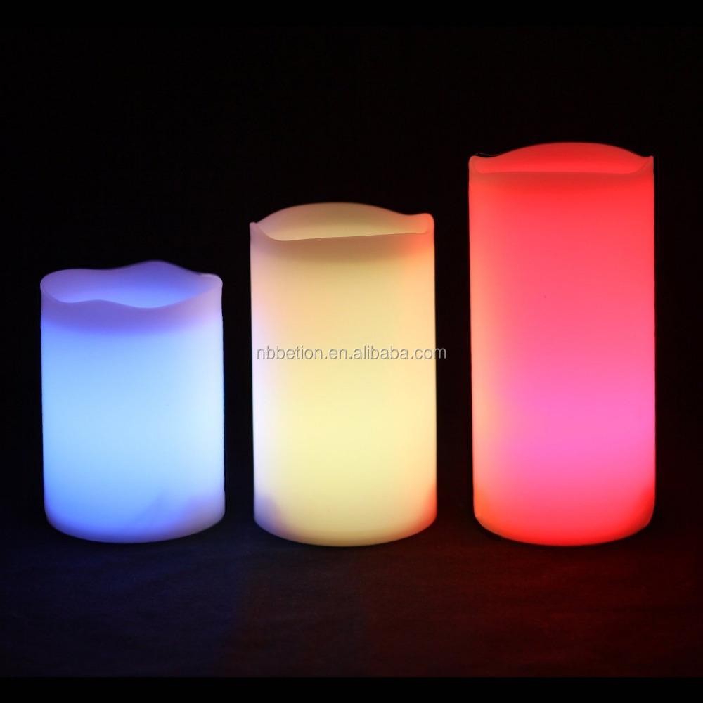 Vlamloze Led Kaarsen Met Afstandsbediening Set Van 3 Kleur