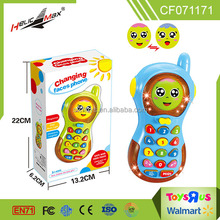 Plastic smart learning toy baby cartoon changing face mobile phone with light and sound
