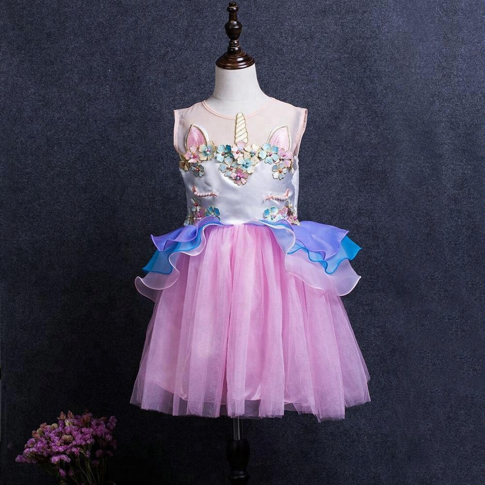 d23555bccf7af 2018 جديد تصميم الأزياء يونيكورن الأطفال فساتين بنات حزب أطفال فساتين  الأميرة مقاسات 2xs الى 6xl