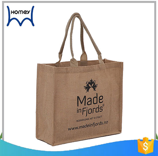wholesale heat-transfer printed specification jute gift bag logo print