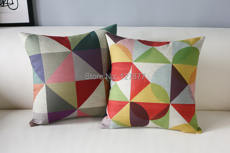 Wholesale Linen Material Pillow Case Abstract Pope Sofa Cushion Cover Simple Colored Geometric Decorative Pillow Covers