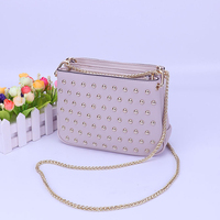Popular Fashion Metal Lady Designer Studded Handbags Leather Tote Bag Handle