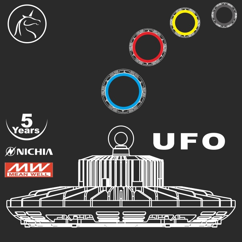 SAA approval new design 2016 four color rings 100w round UFO led highbay light