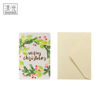 Factory Wholesale Custom Printing Best Withes Christmas Greeting Card And Envelope