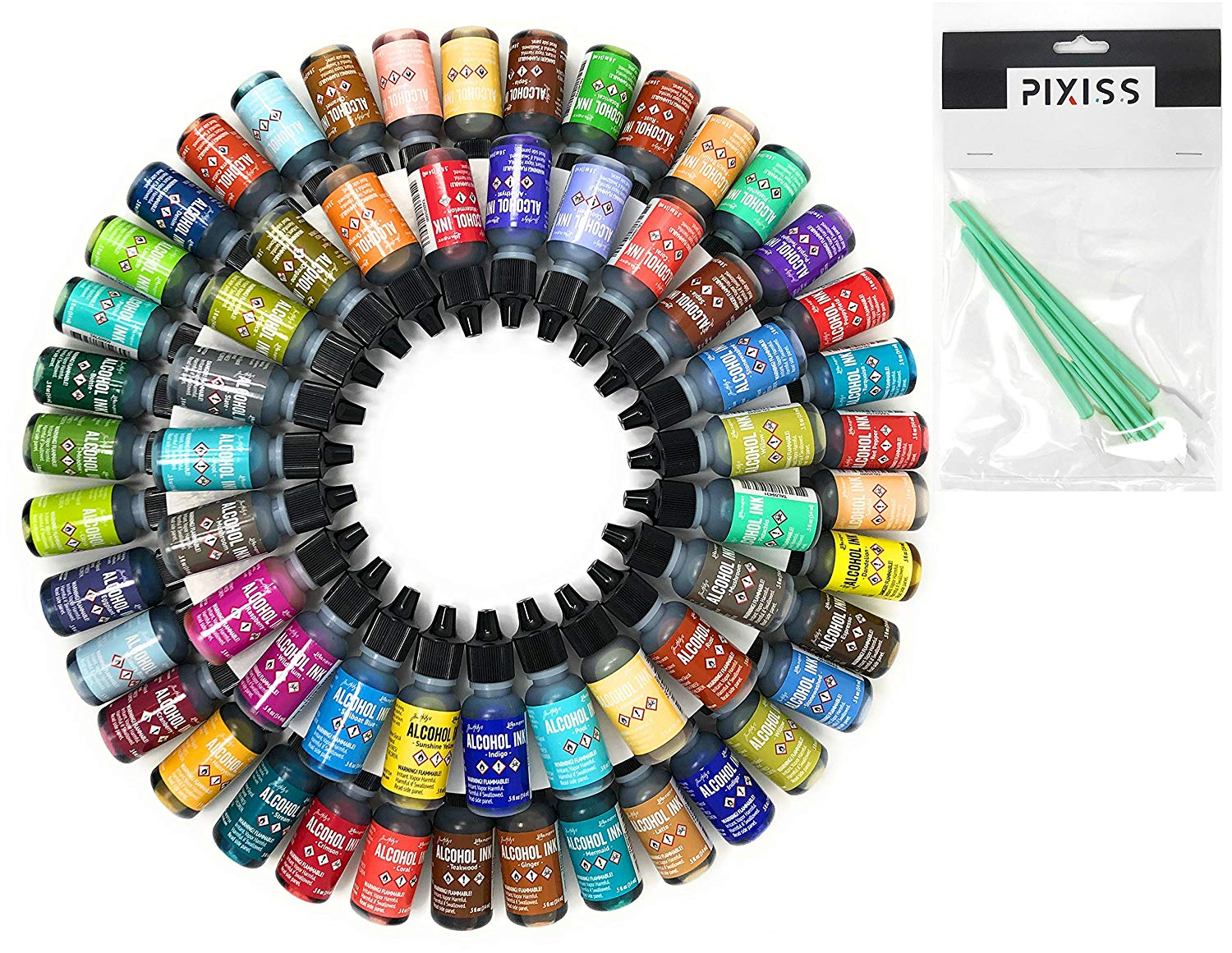 50x Tim Holtz Alcohol Ink .5oz Bottles (Assorted Colors, No Duplicates) and 8X Pixiss Ink Blending Tools