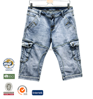 summer new pattern man vintage boys denim jeans half pants Denim Bermuda Shorts