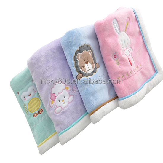 Embroidery solid micromink coral fleece blanket lamb wool baby blanket two sided mink blanket for baby