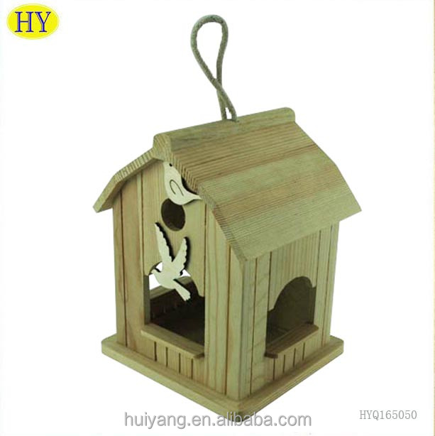 New unfinished pine wood bird house cage