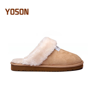 Cheap wholesale micro suede rubber sole warm fur  indoor outdoor winter slippers for women