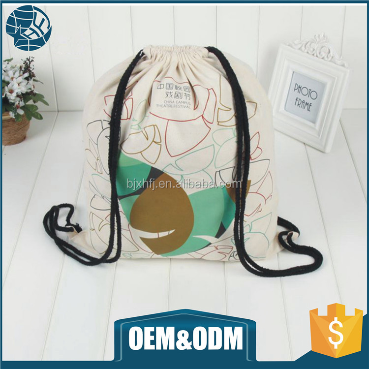 wholesale canvas backpack bag cotton fabric dust drawstring bag with your logo