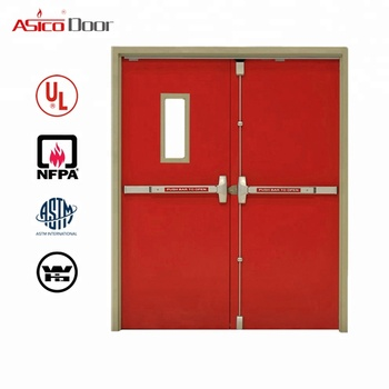 Exterior Residential Metal Fire Emergency Exit Door With Glass Fire